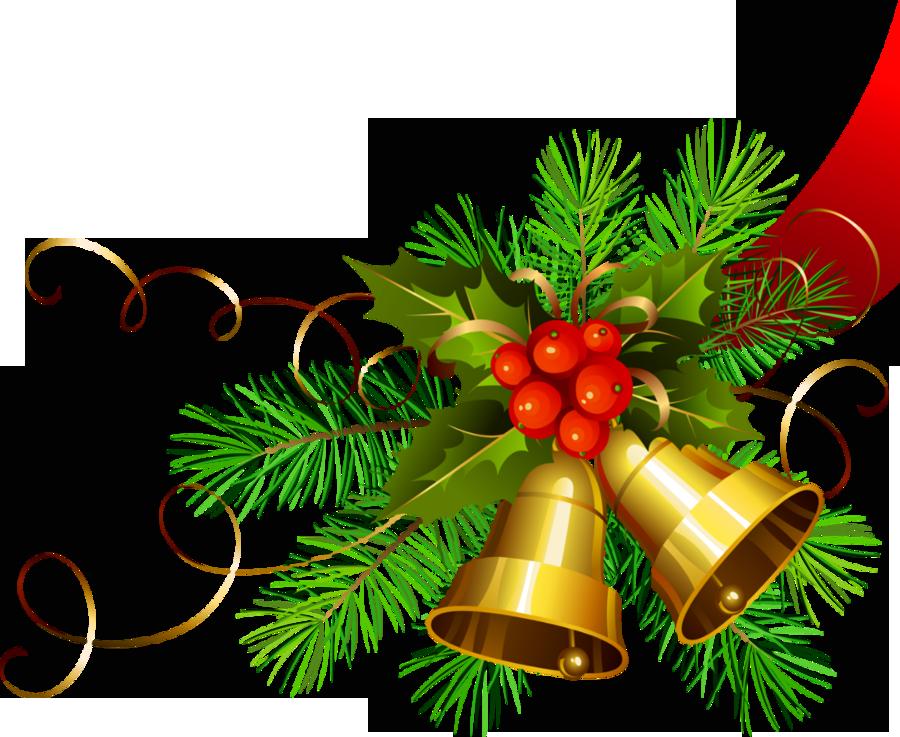 Transparent Christmas Gold Bells.