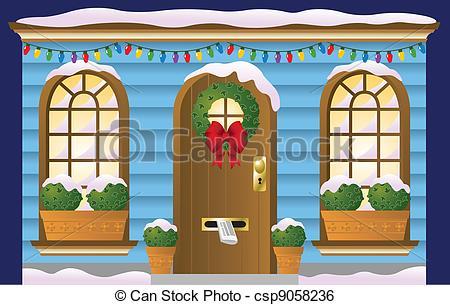 Clip Art Vector of Holiday Doorway.