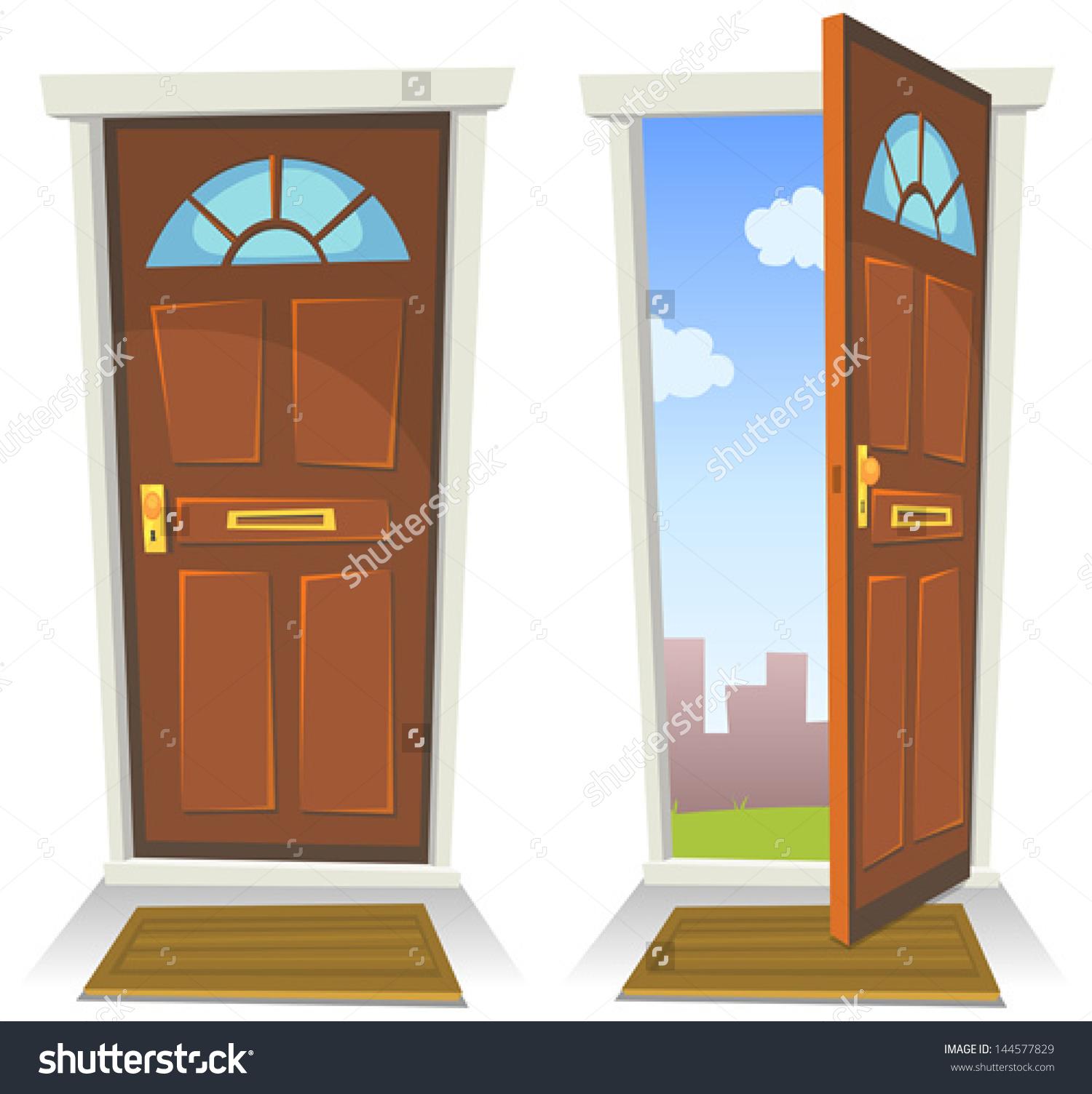 Showing post \\\\u0026 media for Cartoon christmas front door.  sc 1 st  Pezcame.Com & Door Cartoon Picture u0026 A Boy Pushing The Door Closed