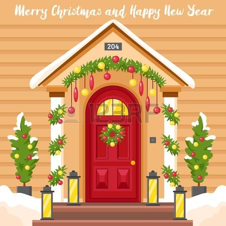 2,385 Christmas Door Cliparts, Stock Vector And Royalty Free.