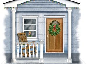Christmas Wreath On A Front Door Royalty Free Clipart Picture In.