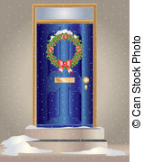 Stock Illustration of Christmas front door with wreath isolated on.