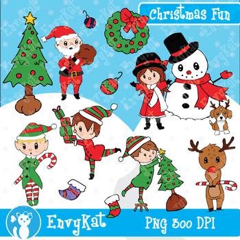 Christmas Fun Digital Clipart Illustrations.