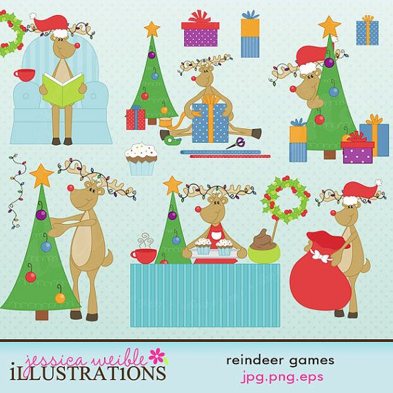 Reindeer Games Cute Digital Clipart for Card by JWIllustrations.
