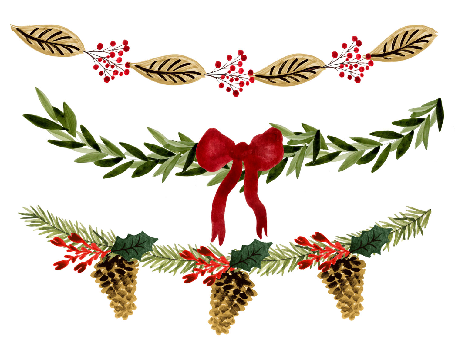 Holiday Garland Clipart.