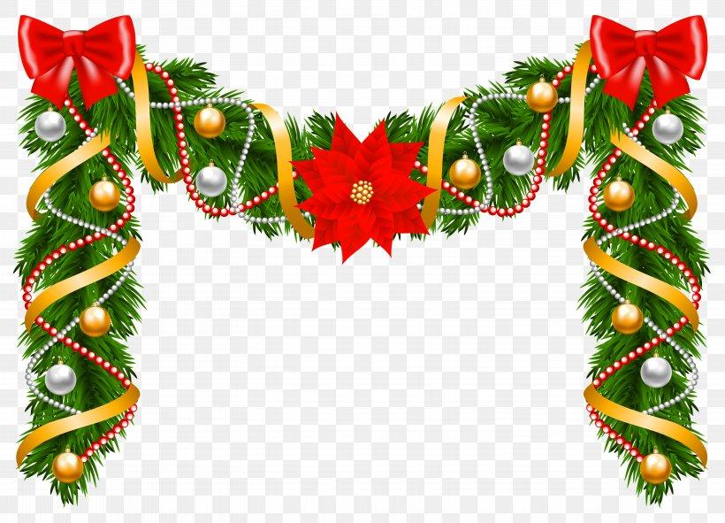 Christmas Garland Wreath Poinsettia Clip Art, PNG.