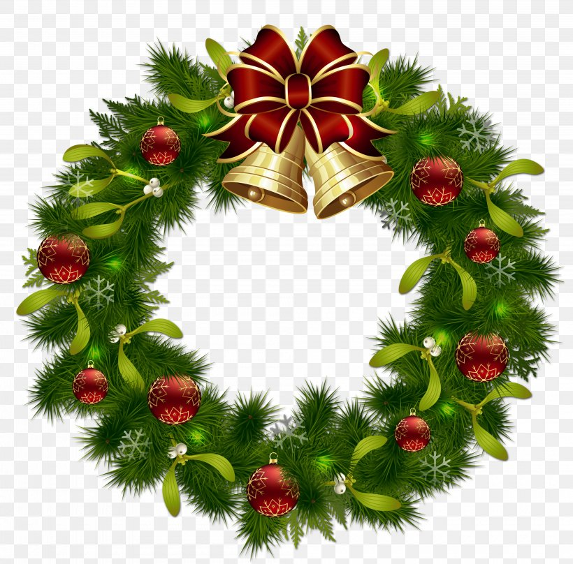 Wreath Christmas Garland Clip Art, PNG, 4000x3943px.