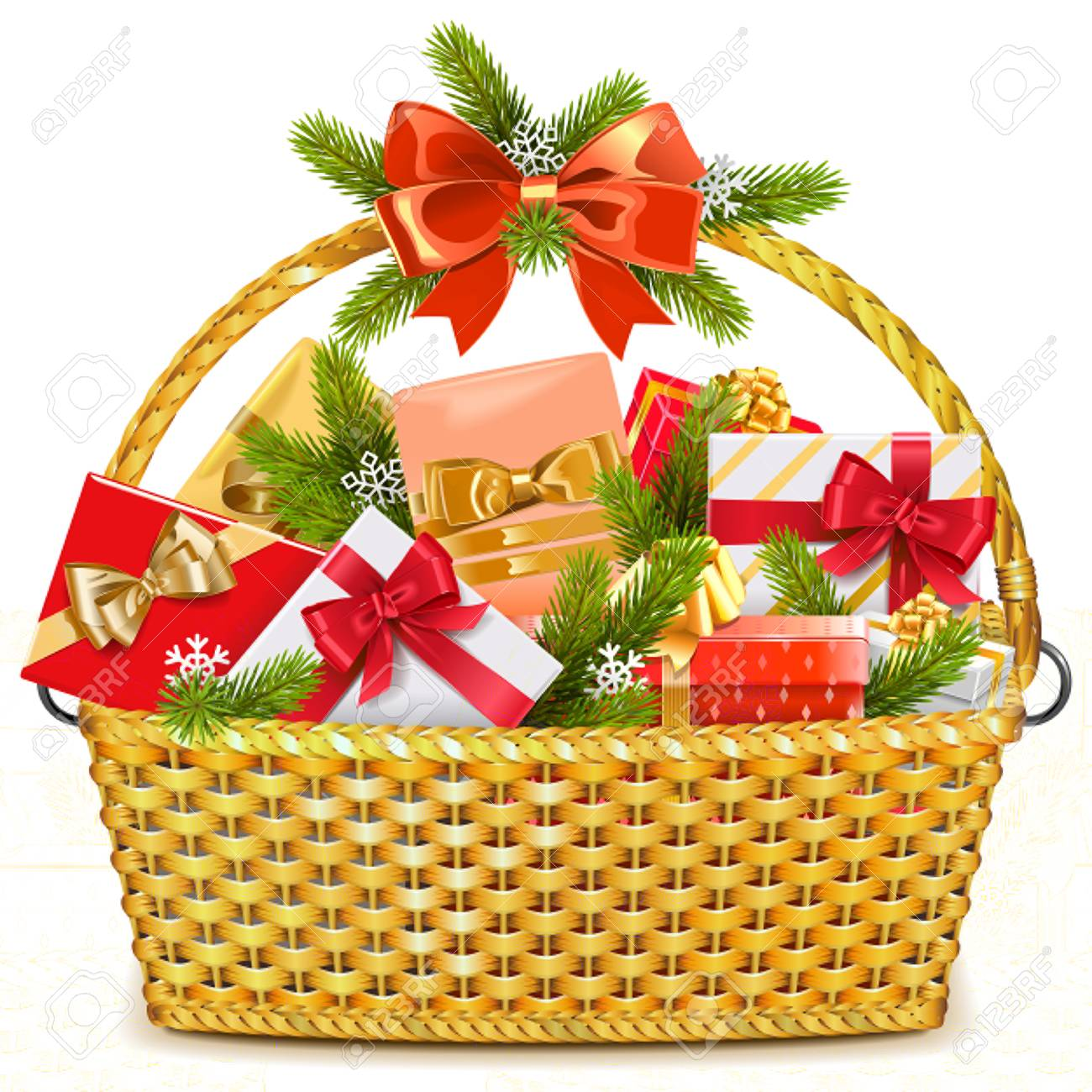 Vector Basket with Christmas Gifts isolated on white background.