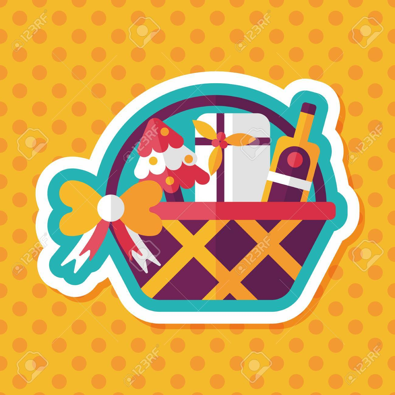 Christmas gift baskets flat icon with long shadow, eps10 » Clipart.