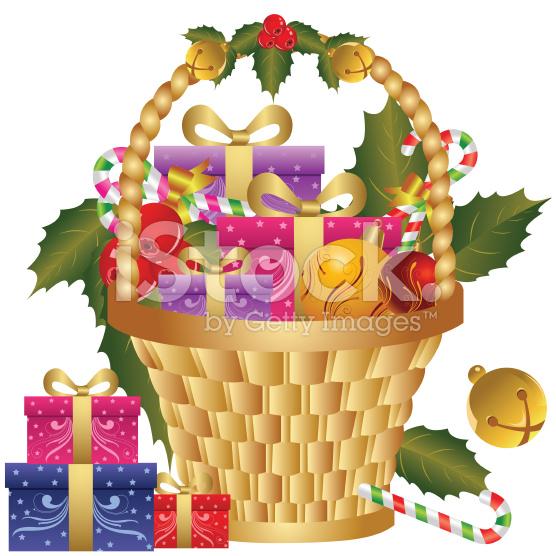 Christmas Gift Basket Clipart.