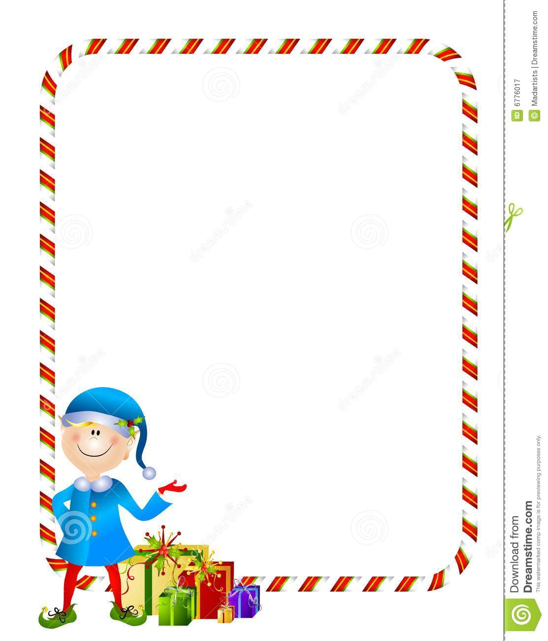 Xmas Elf with Gifts Border stock vector. Illustration of presenting.