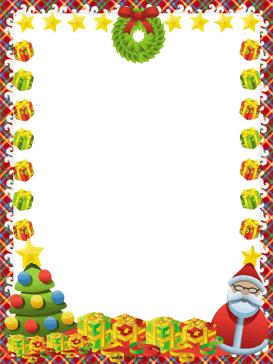 This free, festive Christmas border includes Santa Claus, presents.