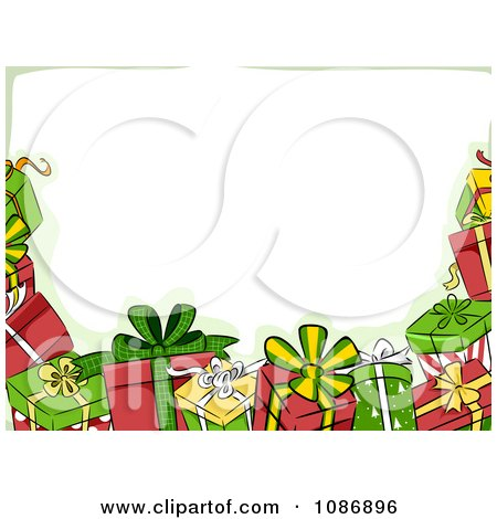 Clipart Border Of Christmas Gifts And Green.