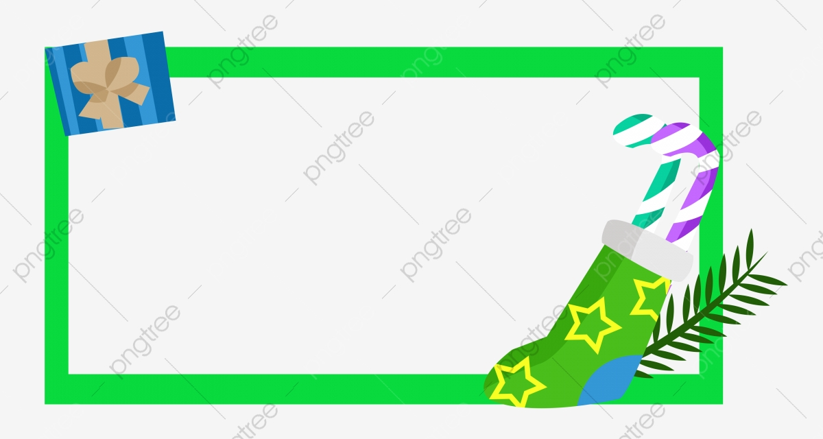 Christmas Gift Box Green Border Golden Five Pointed Star Green.