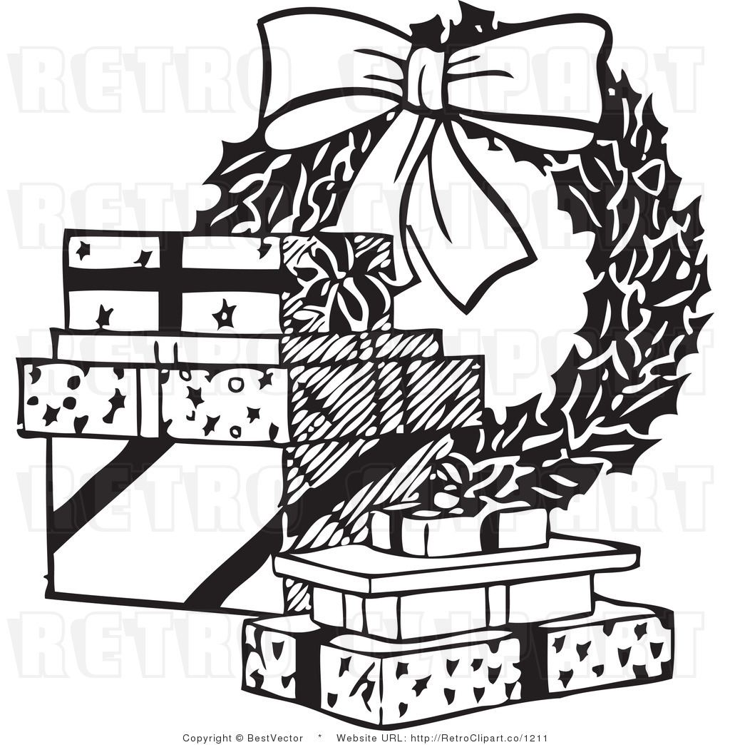 Christmas Gift Border Clipart Black And White.