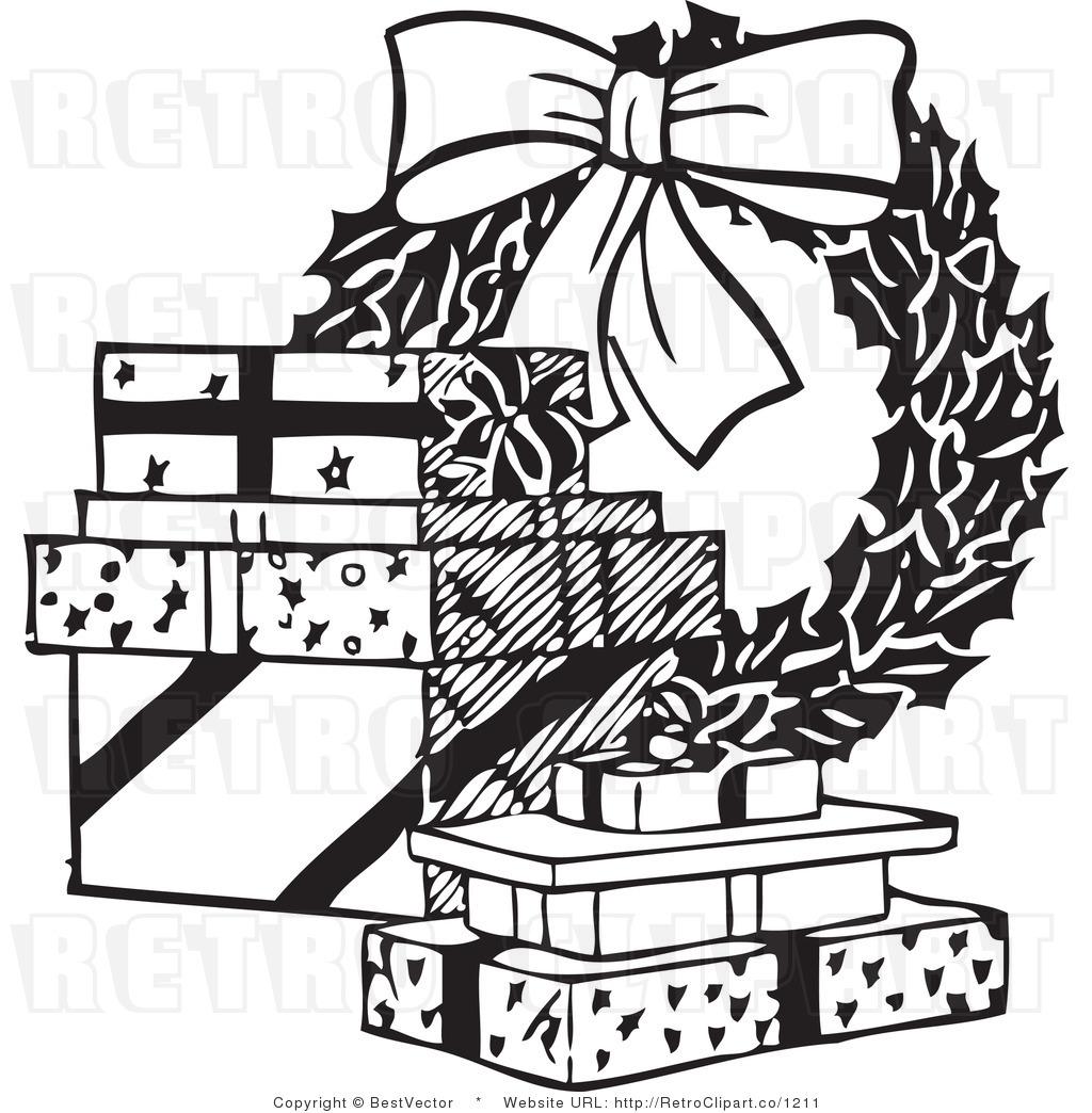 Christmas Gift Border Clipart Black And White.