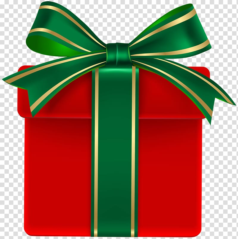 Red gift box with green ribbon , Christmas gift Green.