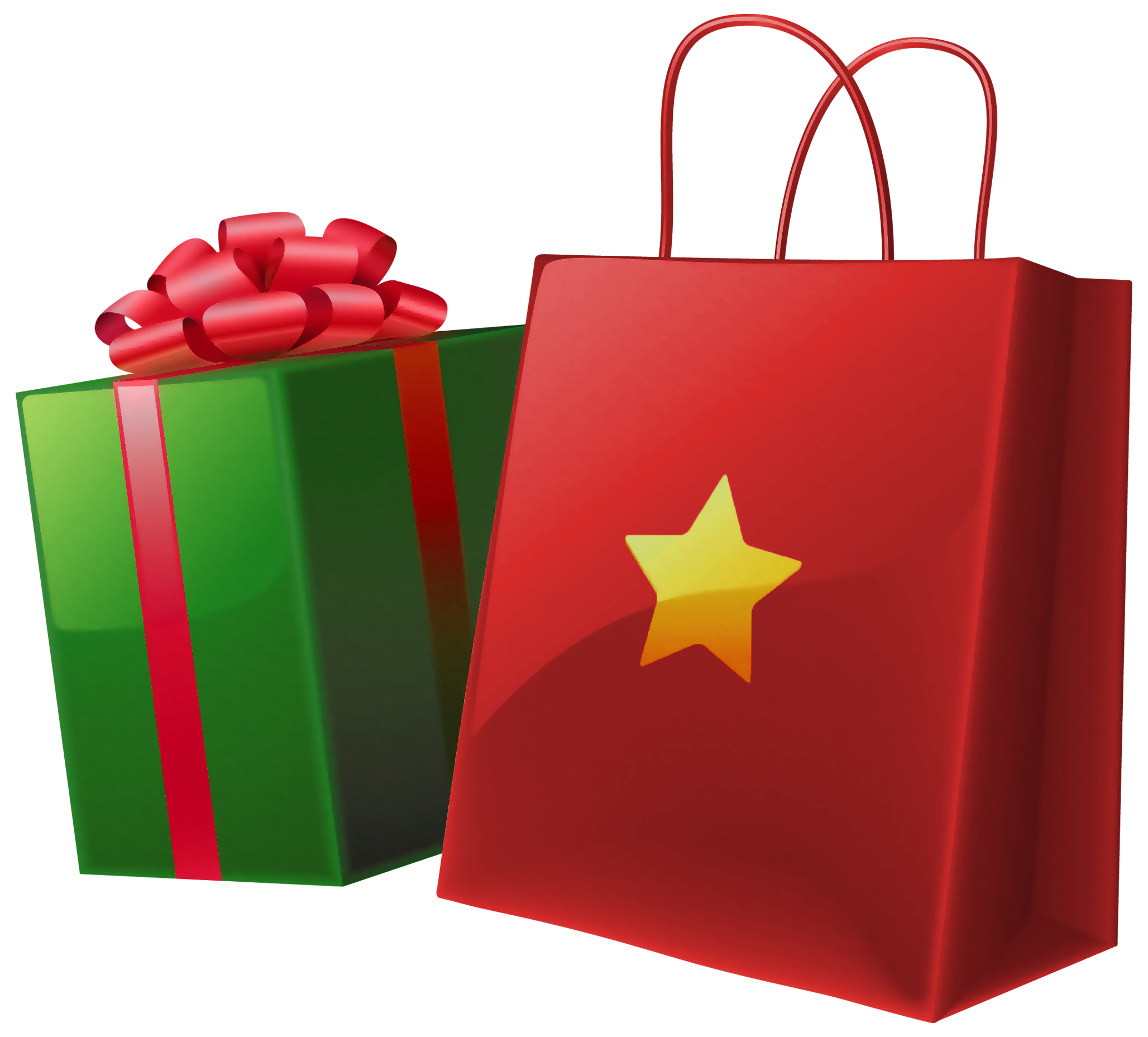 Christmas bag of gifts clipart.