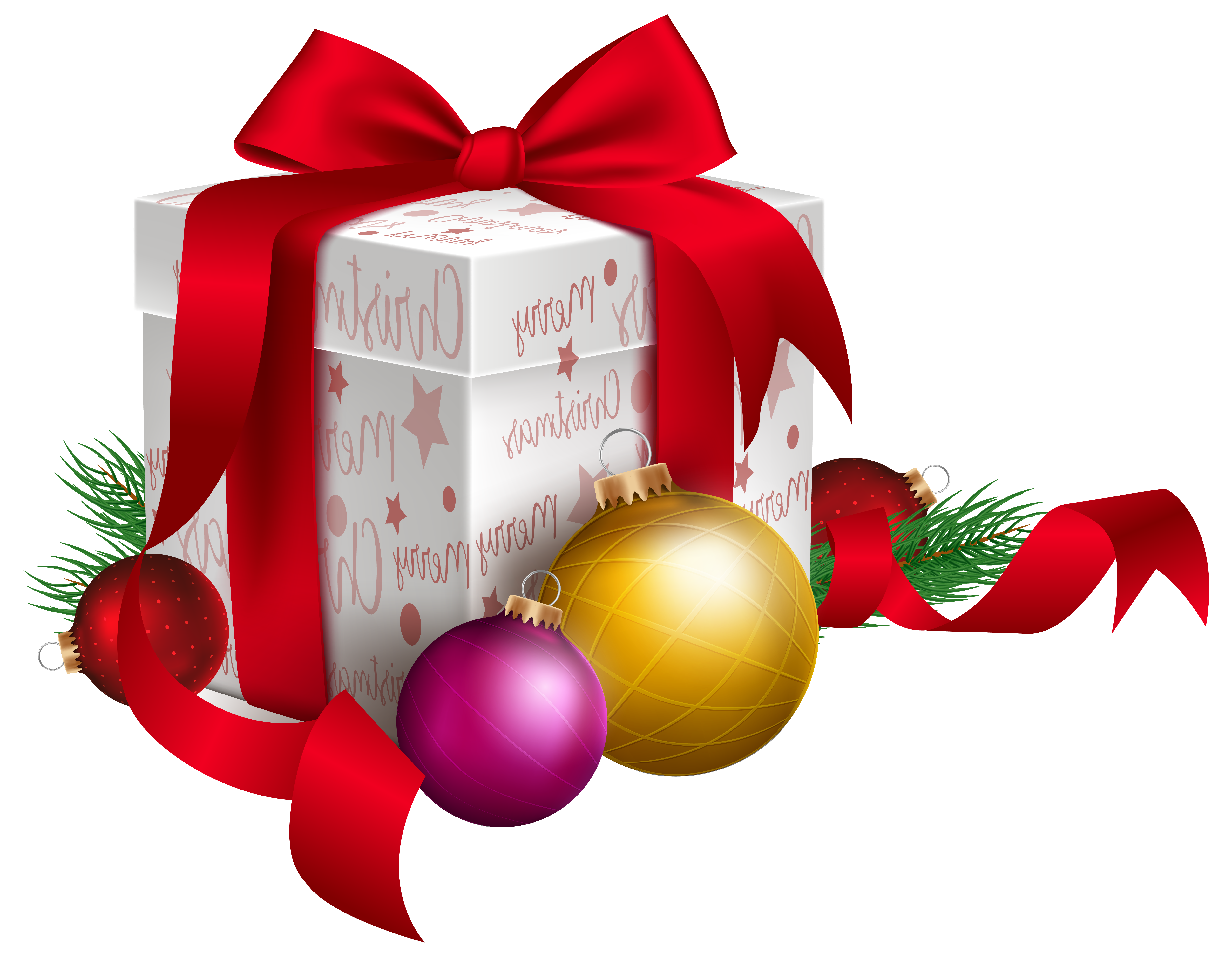 Christmas Gift and Ornaments Transparent PNG Clip Art Image.