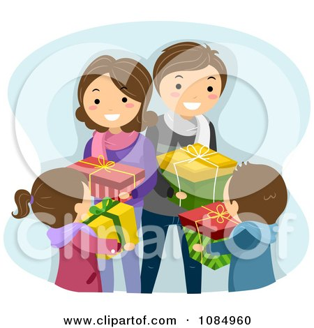 Clipart Happy Family Exchanging Christmas Gifts.