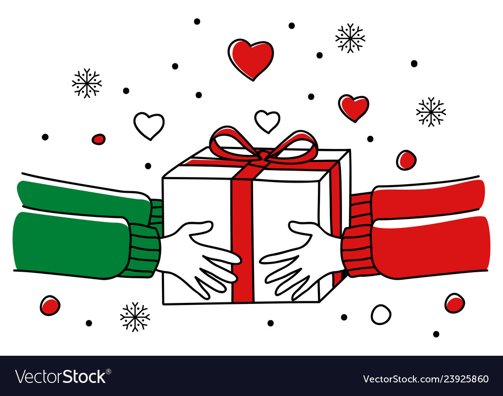 Hands giving christmas present.