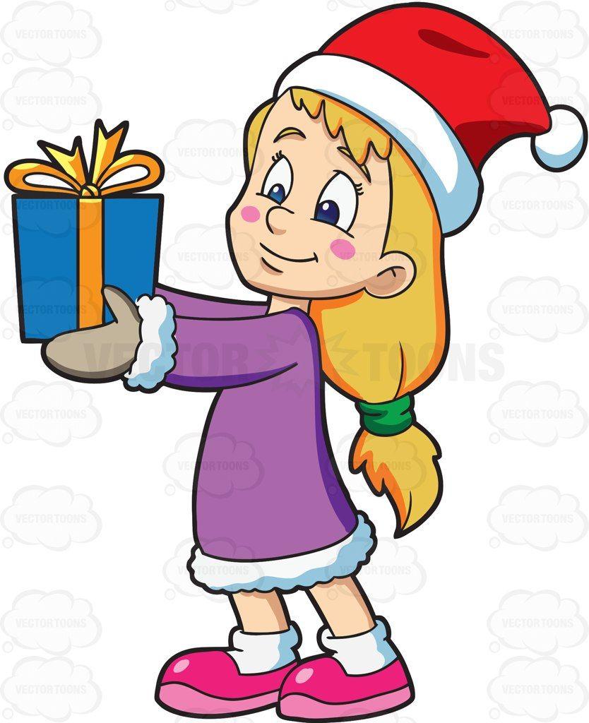 A girl giving her Christmas gift #cartoon #clipart #vector.