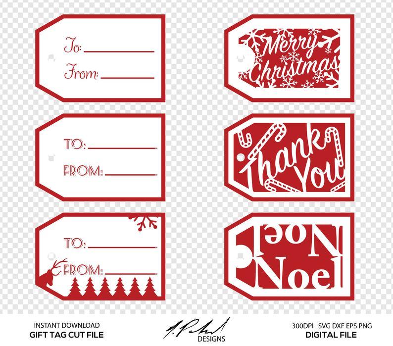 Christmas Gift Tag Digital Cut Files.