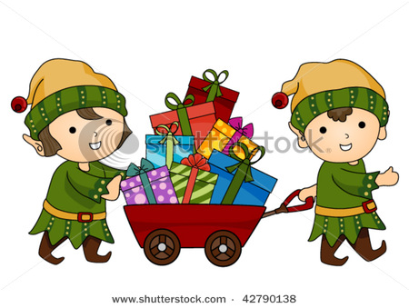 Elves with Gifts, Toys and Christmas Presents.