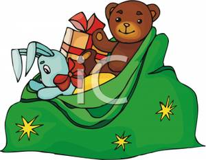 Sack Full Of Christmas Toys And Gifts.