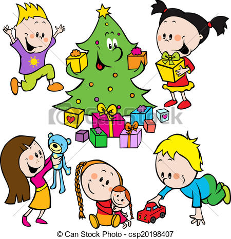 Toys under christmas tree clipart.