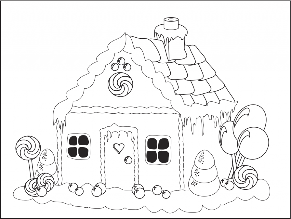 christmas gingerbread house clipart black and white 20