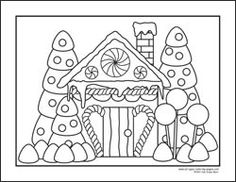 Christmas Gingerbread House Coloring Pages.Christmas Gingerbread House Clipart Black And White 20 Free