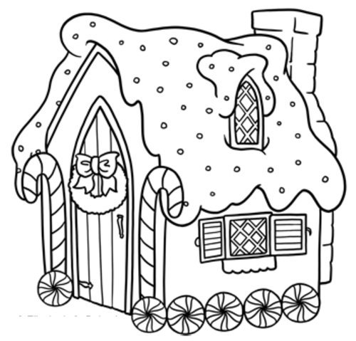 Gingerbread House Coloring Pages For Toddlers