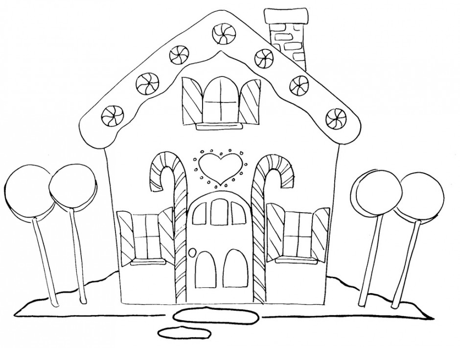 Gingerbread House Coloring Page.