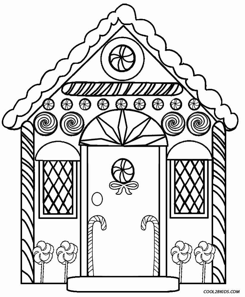 Detailed Gingerbread House Coloring Pages.