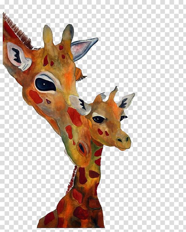 Giraffe Hippopotamus Christmas Watercolor painting.