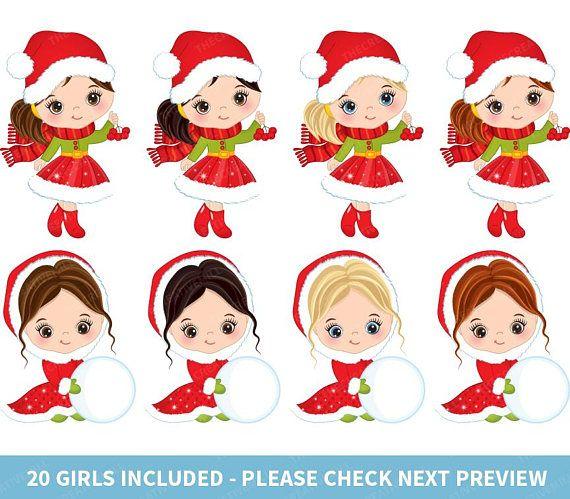 Christmas Girls Clipart.