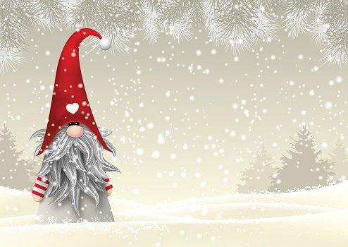 Scandinavian Christmas Traditional Gnome, Tomte, Illustration.