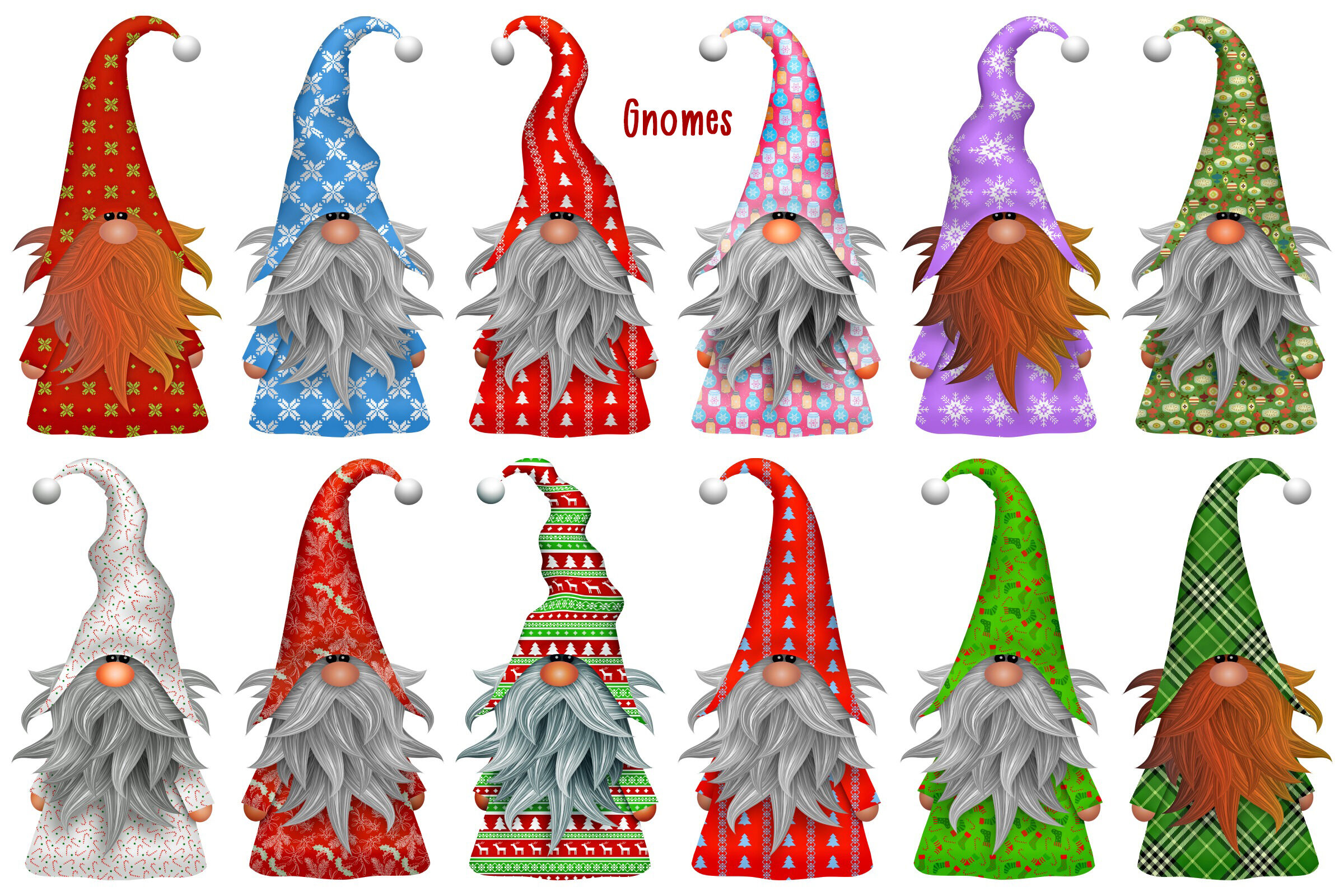 Christmas Gnomes and Scenes Clip Art By Me and Ameliè.
