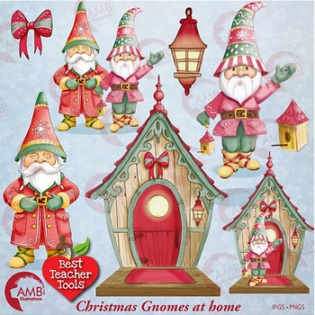 Christmas gnomes clipart watercolor, Christmas bird house clipart, AMB.
