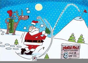 Free Clipart Santa Playing Golf.
