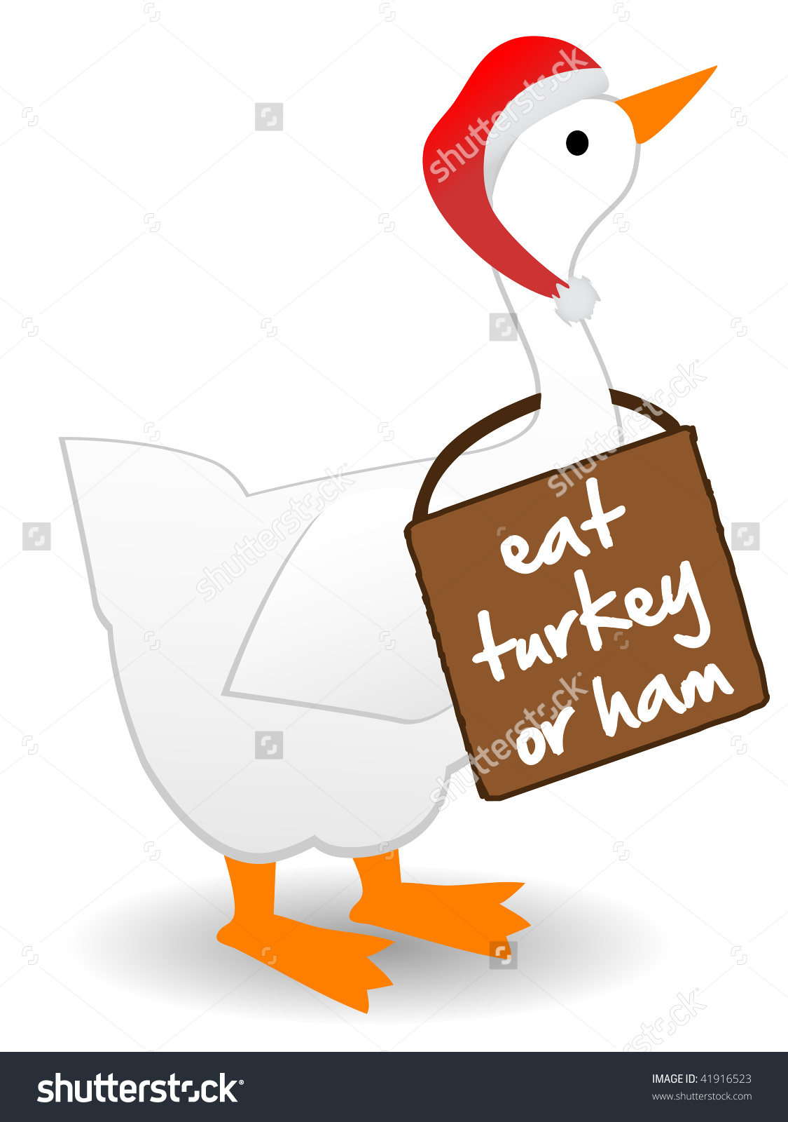 Christmas Goose Wearing Eat Turkey Sign Stock Vector 41916523.