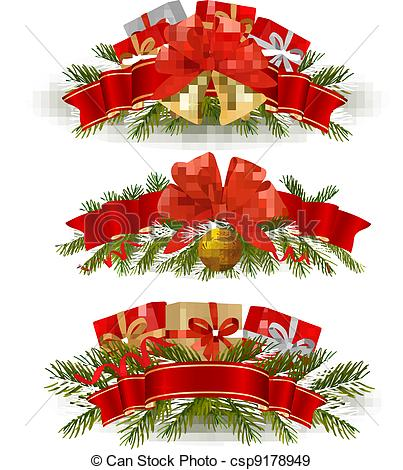 EPS Vectors of Three christmas banners. Vector. csp9178949.