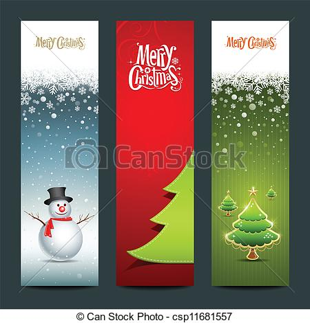 Clipart Vector of Merry Christmas, banner design vertical.