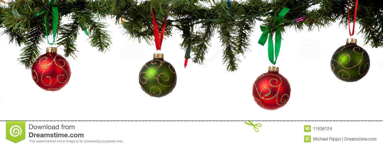 Christmas Ornament Hanging From Garland Stock Images.