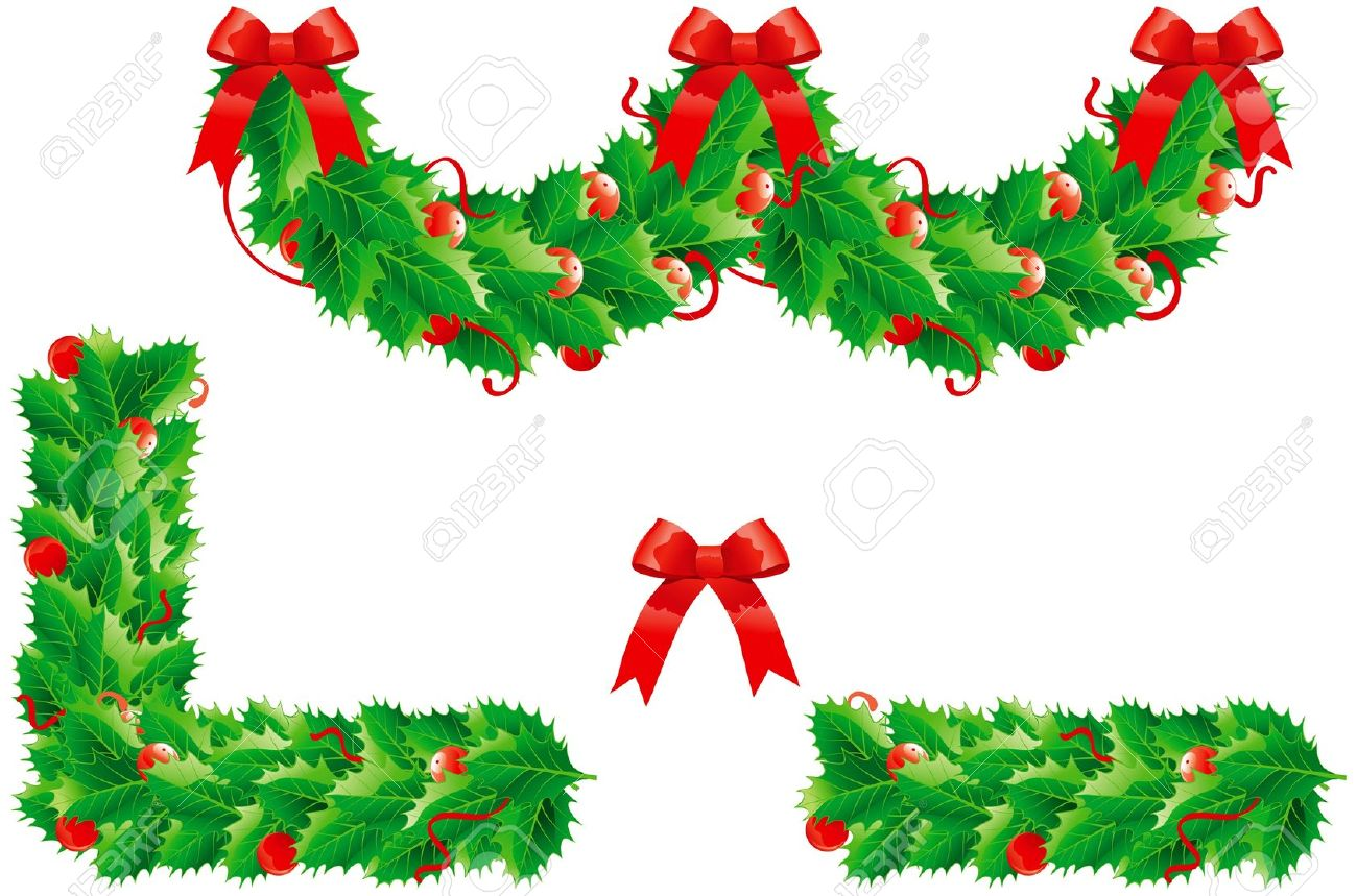 Christmas Ornament Garland Border Clipart.