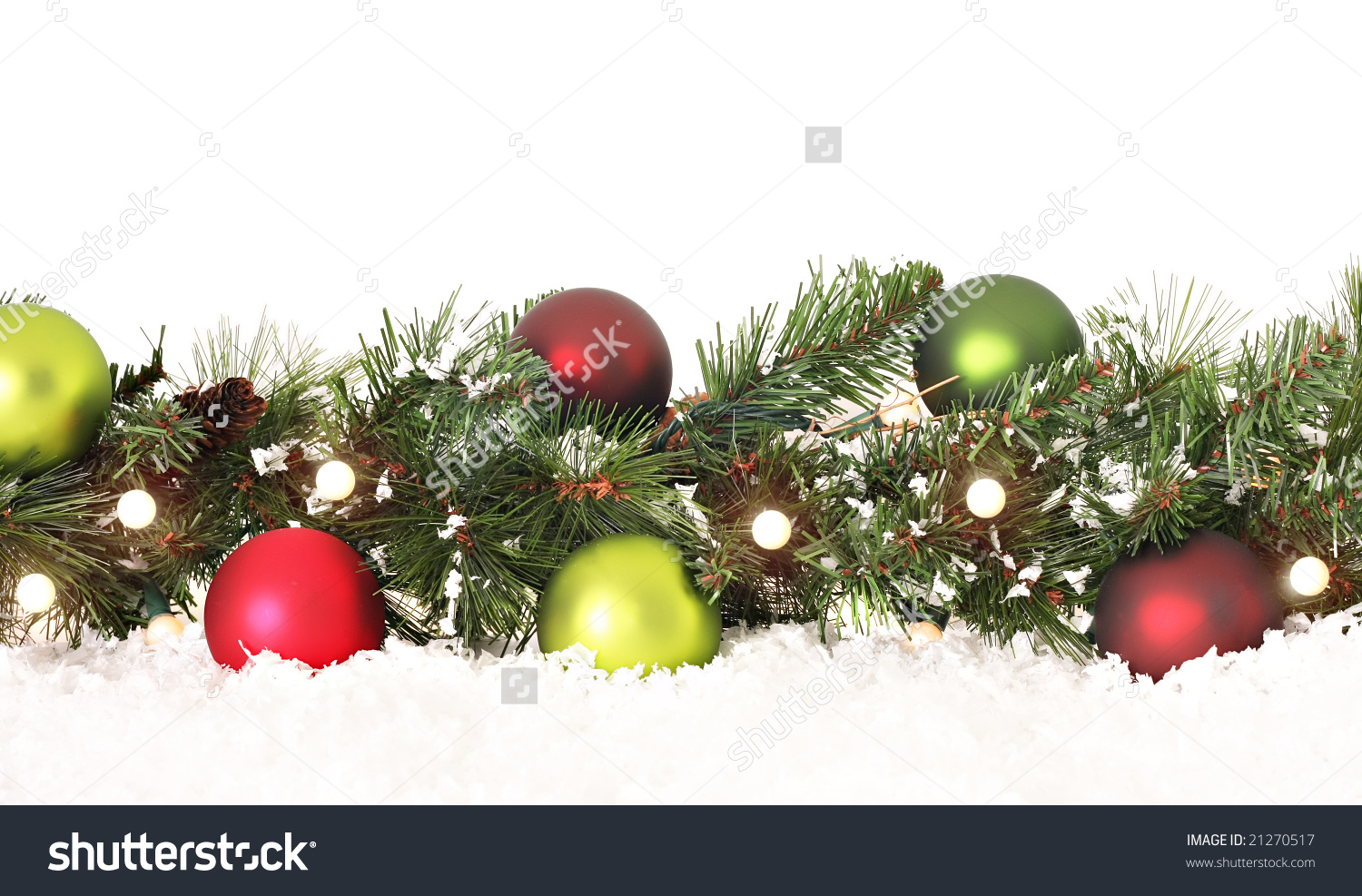 Christmas Greenry Ornament Border Clipart.