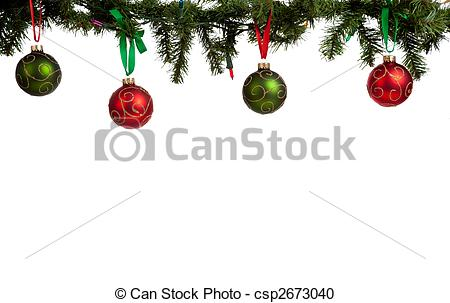 Stock Photography of Christmas ornament/baubles hanging from.