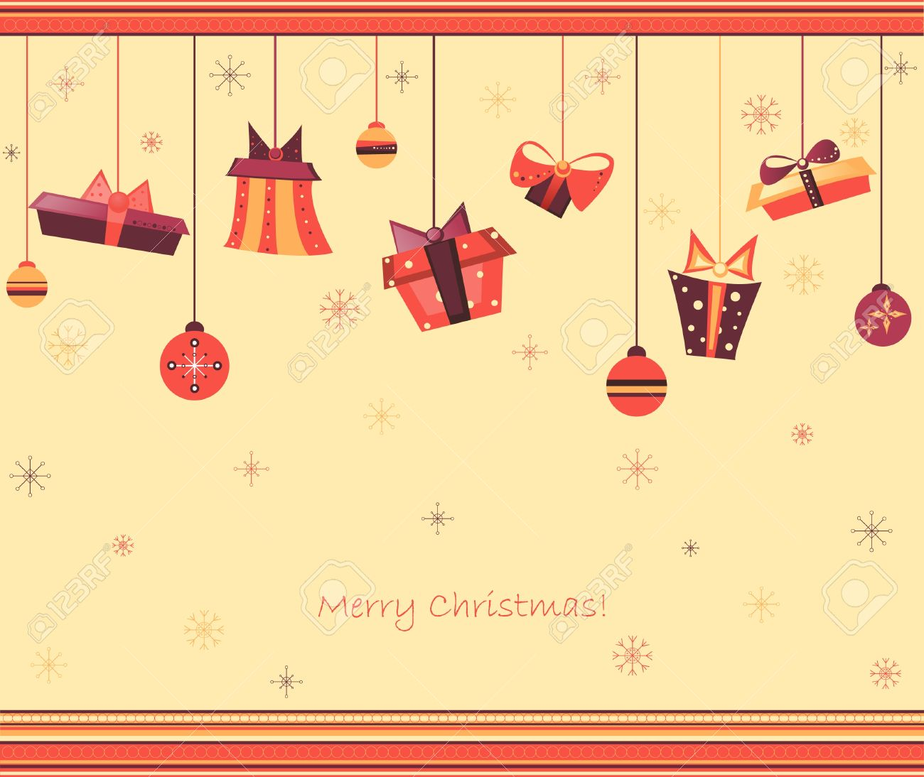 Clip Art Vintage Illustration For Christmas Greeting Card With.