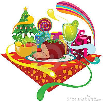 Christmas Ham Dinner Clipart.